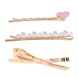 $enCountryForm.capitalKeyWord UK - 3pcs set Korea Simple Style Metal Hairpins for Women Hollow Bow Heart Shape Hair Clips Elegant Barrette Tool Accessories