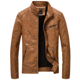 Mens Faux Fur Lining Jacket NZ - Leather Jacket Men Casual Slim Fit Stand Collar Washed Pu Faux Leather Coat Mens Thick Plus Velvet Motercycle Bomber Jackets 5xl