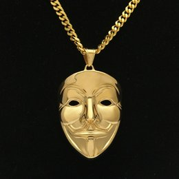 $enCountryForm.capitalKeyWord Australia - New Mens Hip Hop Jewelry Gold Cuban Link Chain V Vendetta Mask Pendant Necklace Fashion Jewelry K3731
