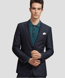 Cheap Wool Ties UK - Cheap And Fine One Button Groomsmen Peak Lapel Groom Tuxedos Men Suits Wedding Prom Dinner Best Man Blazer(Jacket+Pants+Tie) A313