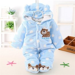 Yellow Hooded Jumpsuit Australia - good quality Cute Autumn Winter Cotton Polyester Baby Romper Long Sleeve Coverall Hooded Infant Jumpsuit with Bear for Toodler