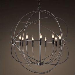 $enCountryForm.capitalKeyWord Australia - Rustic Iron Orb Chandelier-A FOUCAULT's Global Style Suspension Handing Lamp 4 Sizes New for Living room Kitchen Hotel B038