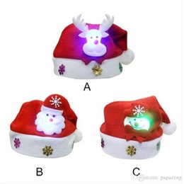 christmas decorations led snowman UK - Free shipping Wholesales Lovely Snowman Christmas Hat LED Caps For Children New Year Xmas Kids Gift Home Decorations