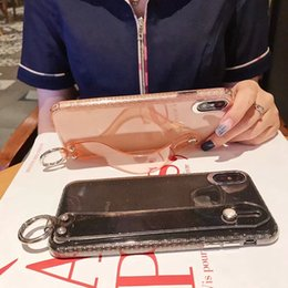 $enCountryForm.capitalKeyWord Australia - For iPhone XR XS MAX X 7 8 Plus 6 Wrist Strap Band & Holder Case Glitter Fashion Non-slip Starry Sparkle Transparent Wrist Strip Stand Cover