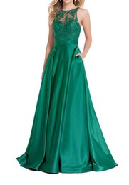 $enCountryForm.capitalKeyWord Australia - Elegant Lace Appliques Tops Prom Gown Satin A-line Floor Length Formal Evening Dresses with Pockets Custom Made