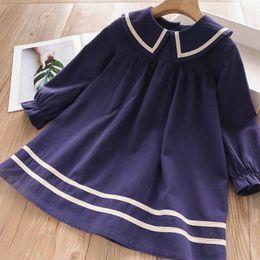Korean fashion summer long sKirt online shopping - 2019 autumn new Korean fashion children s skirt College wind lapel girls long sleeve dress tide fan