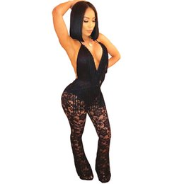 Black See Through Lace Jumpsuit Australia - Women's Black Sleeveless Halter Lace See Through Mesh Jumpsuit Tattoo Print Bodysuit Q126