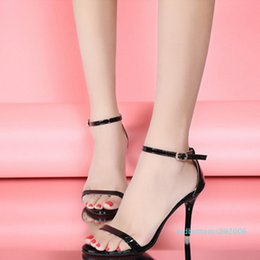 strap black NZ - Ladies Summer High Heels Stiletto Buckle Strap Gladiator Sandals Peep Toe Shoes Women Party Sandals Shoes Black Silver Gold Hot