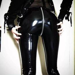 Black Zipper Jeggings Australia - Women Sexy Shiny PU Leggings With Back Zipper Push Up Faux Leather Latex Rubber Pants Black Red Slim Jeggings Y190603