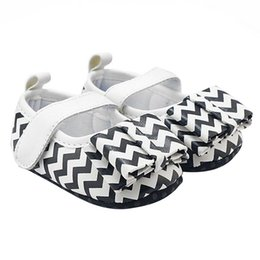 Wholesale Black S Hooks Australia - New Beautiful Cotton Cute Princess Girls Baby Shoes Summer White Black Striped Soft Anti-Skid First Walkers Girl\'s Shoes