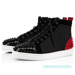 red bottoms sneakers NZ - with box 2020 new red bottoms shoes for mens womens designer spike suede leather platform red bottom fashion luxury casual sneakers r03