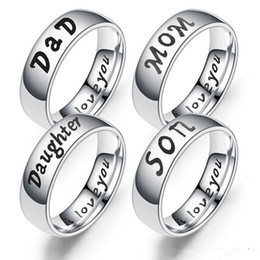 Ring Sons Australia - Stainless Steel I Love you designer Ring I love You Dad Mom Son Daughter Ring Bang Family member letter Rings Fashion Jewelry