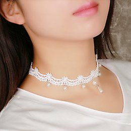 $enCountryForm.capitalKeyWord Australia - Gifts Jewelry Girl Women Torques White Lace Trendy LNRRABC Sexy Necklace Pendant Hot Olivet White Lace 1PC Short Lady Torques