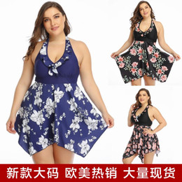 fat big 2020 - 2020 Large Size Swimming Suit Two-piece Suit Monokini Full Skirt Printing Increase Fertilizer Enlarge Swimwear Big Size