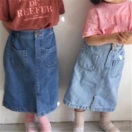 $enCountryForm.capitalKeyWord Australia - INS Toddler Kids Girls Skirts Denim Blank Pocket Skirts Summer Cross Designs Children Girls Pants for 1-6T