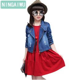 Chinese  Children's Wear Girls' Autumn Suit 2018 Spring Clothing Kids Denim Coat + Dress Two-piece Baby Girls' Casual Sets For 5-14 year manufacturers