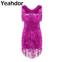Discount royal blue ballroom dresses - Adult Womens Sparkling Sequin Tassels Latin Dance Dress Ladies V Neck Sleeveless Ballroom Samba Tango Dancing Dresscostu