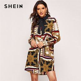 1cd0fea15d SHEIN Tie Neck Contrast Collar Button Ornate Print Button Multicolor Shift  Tshirt Dress Women Modern Lady Going out Dress Y19042401