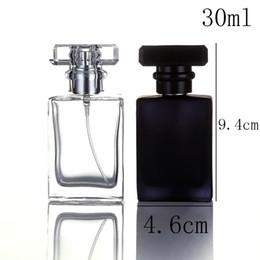30 ml 30cc alta qualidade frasco de perfume de vidro atomizador frasco de perfume transparente preto frasco de spray de cristal quadrado transparente venda por atacado