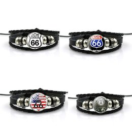 charm wholesalers usa 2019 - Leather USA Route 66 Charm Bracelets Punk Retro Multilayer Leather Bracelets for Men Women Customize Cuff Bangles Jewelr