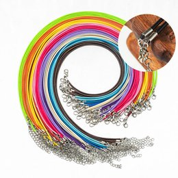 cheap silver necklace chains NZ - Wax Leather Snake Necklace Beading Cord String Rope Wire Extender Chain with Lobster Clasp DIY Cheap Jewelry