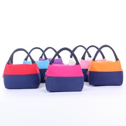 Picnic handbag online shopping - Camping Equipment Lunch Bag Blue Patchwork Bento Bags Thickening Canvas Lunch Box Handbag Picnic Outdoor Kit Ice Pack xl N1