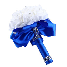 $enCountryForm.capitalKeyWord NZ - Elegant Royal Blue Purple Red Rose Artificial Bridal Flowers Bride Bouquet Wedding Bouquet Crystal Silk Ribbon Decoration A60
