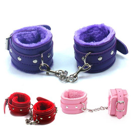 furry bondage restraints NZ - Flirt Toy Handcuffs Leather Furry Comfortable Restraints soft Bondage Tools Flirting Tool for Beginners sex Toys For Couple