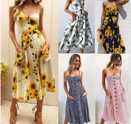 048b865db887 Sunflower and pineapple print suspender button back sexy dress girl
