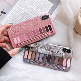 dark brown eyeshadow palette Canada - Makeup Eyeshadow Palette phone Case For iphone 11 11pro XS Max XR X XS 6 6s 7 8 plus glossy soft silicone Protection Back cover