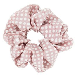 $enCountryForm.capitalKeyWord Australia - Polka Dots Design Chiffon Fabric Hair Scrunchy Ponytail Holder Hair ties Gum Bands