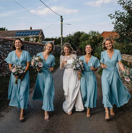short gown bridesmaid sleeve Canada - 2019 Chiffon Long Bridesmaid Dresses Cheap Plus Size maid of honor gowns jumpsuits short sleeve Bridal Wedding Party Gowns cheap Custom Made
