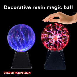 magic plasma crystal ball NZ - 6 8Inch Plasma Ball Magic Sphere Crystal Globe Touch Nebula Light Christmas Party Decoration Home Decor 3