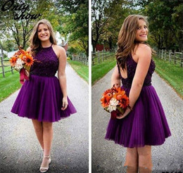 $enCountryForm.capitalKeyWord Australia - Halter Purple Short Homecoming Dresses Backless Beads Tulle Juniors Mini Prom Party Gowns Sweet 16 Plus Size Cocktail Dresses Custom Made