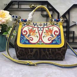 $enCountryForm.capitalKeyWord Australia - Famous Brand Premium Luxury Lady Bag Flower Print Platinum Tote Genuine Cow Leather Leopard Clamshell Handbag Women Shoulder Bag 1