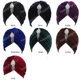 Neon Beanies Wholesale Australia - New Fashion Celeb Style Neon Casual Double Stretch Pendant brooch Velvet Turban Headwrap Turbante Hat Women Hijab Headwear