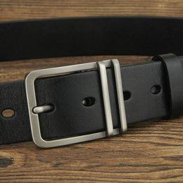 De alta calidad de cuero retro Pin Buckle hombres 3.8 cm cinturón ropa occidental cintos masculinos Cowskin ceinture homme jeans cinturón