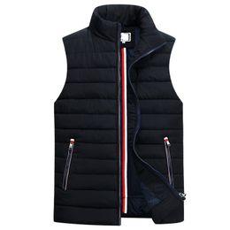 2019 homens sem mangas colete homme inverno casuais casacos de algodão masculino acolchoado colete espessamento homens colete plus size 5xl em Promoção