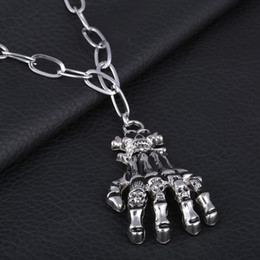 $enCountryForm.capitalKeyWord Australia - Long Necklaces Homme Punk Vintage Skull Halloween Party Hands Pendant Necklace For Male Stainless Steel Chain Kolye Men Hot