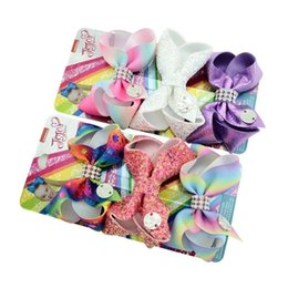 hair braid styles NZ - Newest Cardboard 3 Inches JOJO Bows 21 Styles Girls Barrettes Sequins Mermaid Unicorn Rainbow Girls Hair Clips JOJO SIWA Hair Accessories