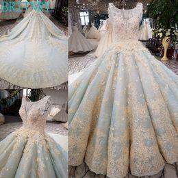 $enCountryForm.capitalKeyWord NZ - wholesale Luxury Wedding Dress Scoop Royal Train Bridal Dresses 2018 Beaded with Crystals Blue Bridal Gown Real Photos