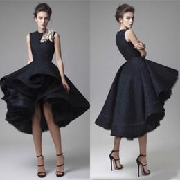 $enCountryForm.capitalKeyWord Australia - krikor Jabotian High Low Black Lace Dresses Evening Wear Modest Jewel Tulle Puffy Short High Low Prom Gowns Custom Made China