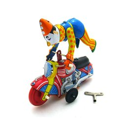 Wholesale Funny Adult Collection Retro Wind up toy Metal Tin clown on a moroncycle show acrobatics Clockwork toy figures vintage toy