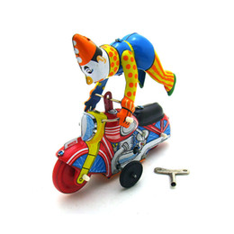 toy clown UK - [Funny] Adult Collection Retro Wind up toy Metal Tin clown on a moroncycle show acrobatics Clockwork toy figures vintage toy