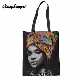Canvas Art Prints Women Australia - Noisydesigns Art Afro Lady Girls Prints Canvas Reusable Shopping Bag Women Foldable Grocery Storage Bags Large Casual Totes Bag