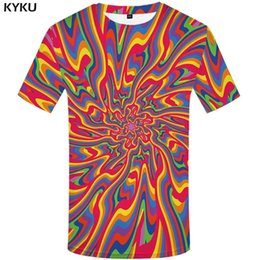3d graphic tees Australia - KYKU Dizziness T shirt Men Vortex Graphic Tee Colorful Funny T shirts Black Hole Japan Style 3d T-shirt Printed Tshirt