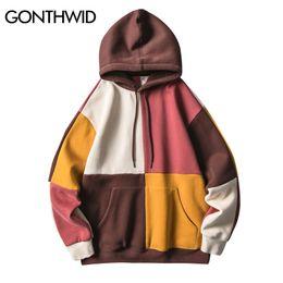 $enCountryForm.capitalKeyWord Australia - GONTHWID Color Block Patchwork Fleece Hoodies Sweatshirts Harajuku Hip Hop Casual Pullover Hooded Hoodie Streetwear Fashion Tops