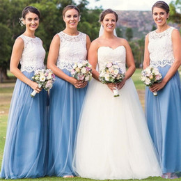 Cheap Two Pieces Blue and White Bridesmaid Dresses Jewel Neck Top Lace  Tulle Skirt Wedding Guest Wear Floor Length Prom Gowns f4ea49075574