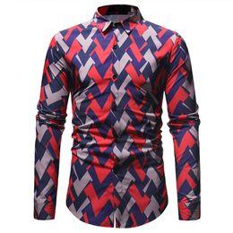 d4d64ed2d94 Geomatric Striped Print Shirt Business Man Casual Shirts Korean Style Man  Blouse Streetwear Spring Wear Long Sleeve Tops Floral