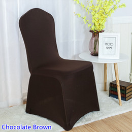 kitchen chairs Australia - Chocolate Brown Colour chair covers spandex chair covers china universal lycra cover dining kitchen washable thick